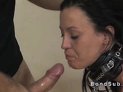 Bent over slave paddled and throat banged