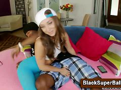 Big ass teen licks black cock tip