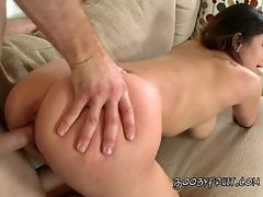Hot white jizz for audrina on her face after he slams her from back