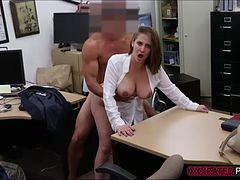 Blonde gives a deep blowjob and gets pounded in exchange of cash