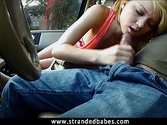 Teen Dakota Skye gives head and fucked in the backseat
