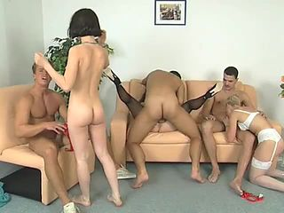 Cute young girls gangbang