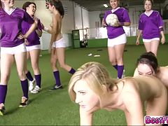 Smoking hot and gorgeous teens gets banged the hardest way by the team captain in the football group