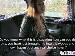 Naughty voluptuous babe nailed by the pervert taxi driver