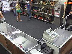 Guy pawns his girlfriends pussy at the pawnshop for money