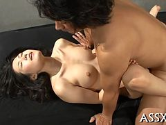 Lively anal drilling for two asian honeys