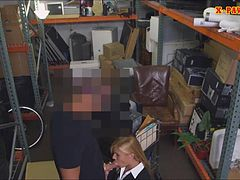Sexy blonde milf banged by pawnkeeper in storage room