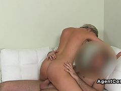 Fake agent fucks blonde amateur babe couch cum