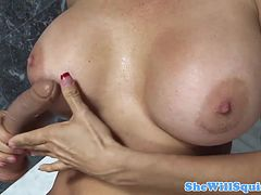 Busty mature squirting in the bathroom