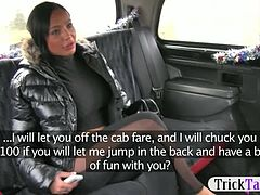 Horny chick paid by the driver then screwed in the cab