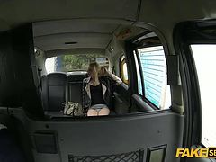 Blonde hottie April takes a free dick ride on a taxi hardcore