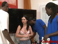 3 Nasty black guys got a blowjob from a hot gal and DPed her