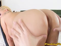 Big boobed blonde wet pussy fisted hard