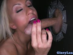 Gloryhole lover swallows cum as she gives lip service