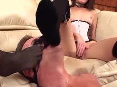 Babes face sitting and kinky footsex in stockings
