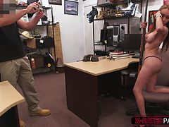 Hot little stripper girl pawns her bfs gun and pose with it