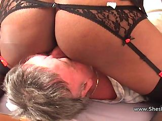 Guys licking her shaved pussy